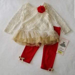 Rare Editions baby girl Outfit set Christmas
